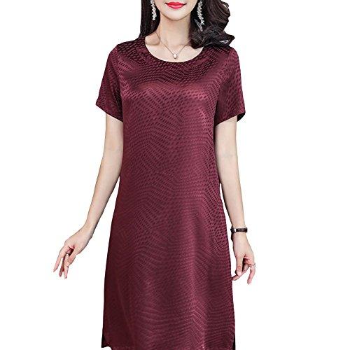 Damen Midi Cocktail Dunkelrot Abendkleid E Seide girl S2821 Kleider Übergröße Gestreift Kleid qEHH4C