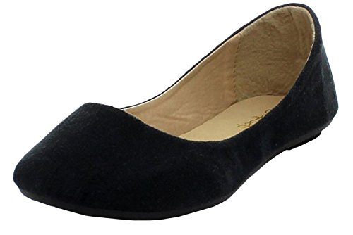Refresh DEMI-01 Women Hot Comfy Sweet Classic Round Toe Ballet Flat Slip On Shoe, Color:BLACK, Size:6.5