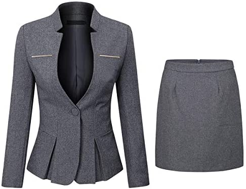 Womens 2 Piece Business Skirt Suit Set Office Lady Slim Fit Blazer and Skirt