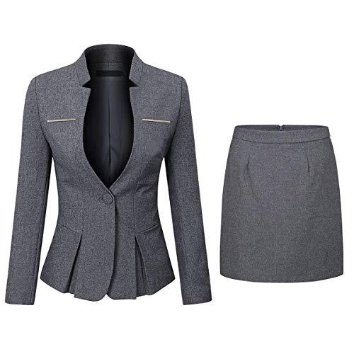 Women's 2 Piece Business Dress Skirt Suit Set Office Lady Slim Fit Blazer and Skirt (Women Coat Dress Set)