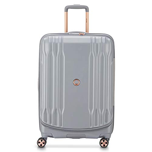 DELSEY Paris Eclipse DLX Expandable Luggage with Spinner Wheels, Harbor Gray, Checked-Medium 25 Inch