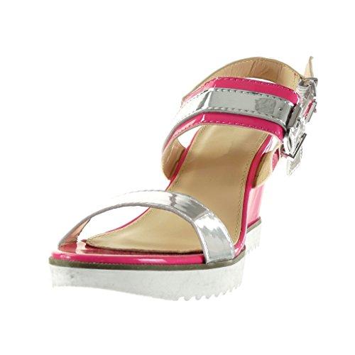 Angkorly - Chaussure Mode Sandale Mule semelle basket lanière cheville femme brillant boucle Talon compensé plateforme 9 CM - Fuschia