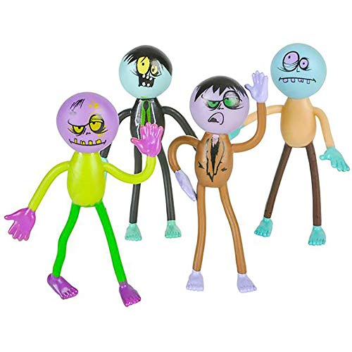 Bendable Zombies - Pack of 12 Assorted Mini Stretchy Monster Action Figures for Kids and Adults - Perfect for Halloween Decorations, Trick or Treat Bags, The Walking Dead Zombie-inspired Parties ()