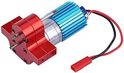BeesClover Speed Change Gear Box Metal Gearbox with 370 Brush Motor Anodizing Treatment for Heatsink Mount Base for WPL 1633 RC Car Blue