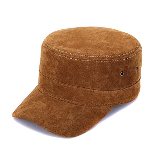 - Sandy Ting Suede Leather Classic Adjustable Plain Hat Military Cap
