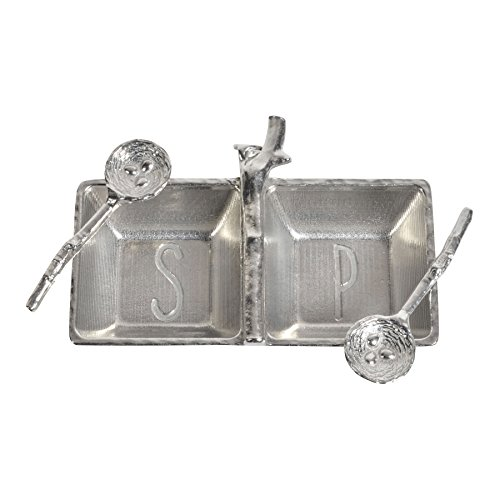 Salt Pewter Pepper Shakers (Crosby & Taylor Pewter Salt & Pepper Tray with Twig Bird's Nest Spoons)