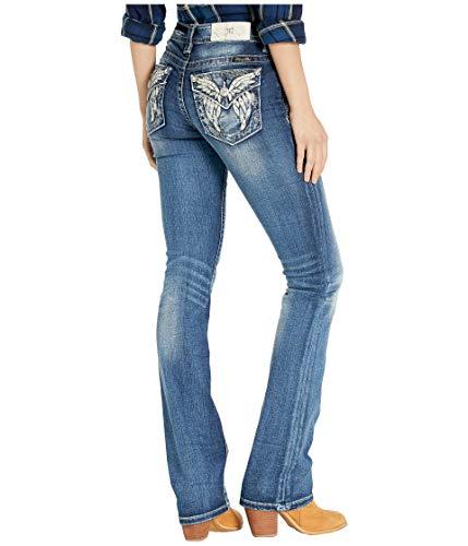 Miss Me Women's Butterfly Faux Flap Slim Bootcut Jeans in Dark Blue Dark Blue 29 - Buckle Leather Belt Metallic Rhinestones