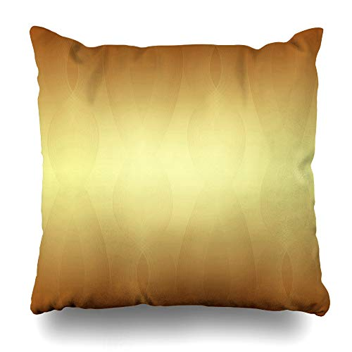 (Ahawoso Throw Pillow Cover Christmas Anniversary Gold Waves 50Th Celebration Golden Thanksgiving Istic Design Home Decor Cushion Case Square Size 16 x 16 Inches Zippered Pillowcase)