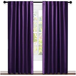 NICETOWN Bedroom Curtains Blackout Drapery Panels - (Royal Purple Color) W52 x L84, Double Panels, Window Treatment Blackout Drapery for Windows
