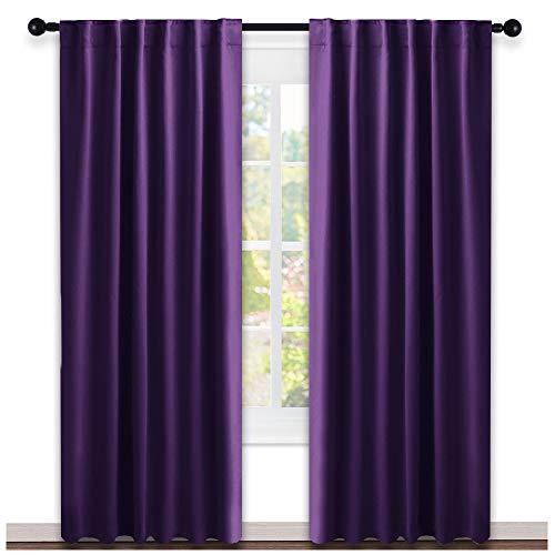 NICETOWN Bedroom Curtains Blackout Drapery Panels - (Royal Purple Color) W52 x L84, Double Panels, Window Treatment Blackout Drapery for Windows
