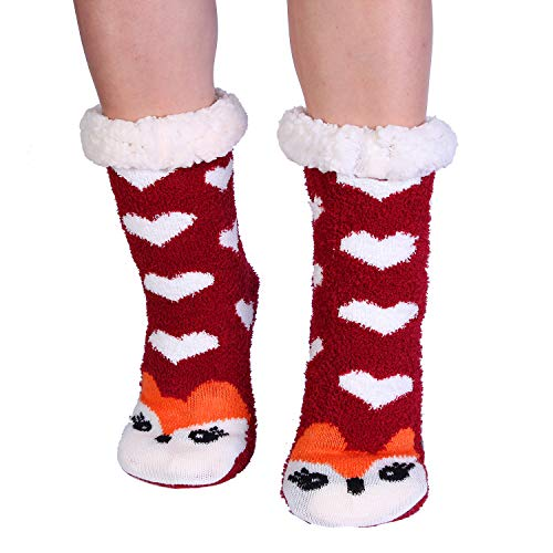 - Fox Cozy Fuzzy Slipper Socks with Grippers for Women Cute Animal
