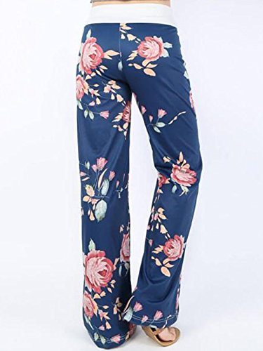 iChunhua Women's Comfy Stretch Floral Print Drawstring Palazzo Wide Leg Lounge Pants(M,Blue) by iChunhua (Image #1)