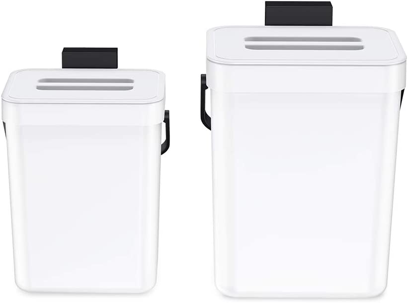 Beautylover Compost Bin for Kitchen Food Composter Hanging Waste Bin 2 Pack Mountable Compost for Bathroom/Office