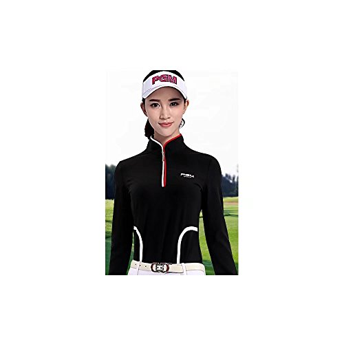 対角線ピン柔和Kayiyasu カイヤス シャツ Tシャツ ゴルフウェア ポロシャツ レディース ゴルフ ジャージ 女性用 アウトドア 長袖 021-xsty-yf057(L ブラック )