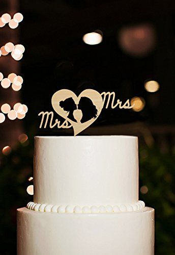 Lesbian Wedding Cake Toppers Mrs and Mrs Rustic Silhouette Wedding Topper