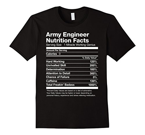Army Engineer Nutrition Facts Funny T-Shirt Short Sleeve (Short T-shirt Sleeve Engineer)