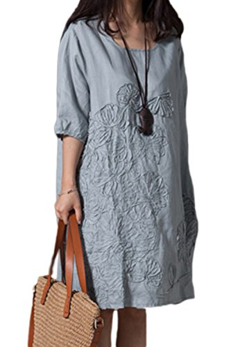 Coton Broder Femmes Zilcremo Occasionnels col Vintage Robe Robes Skyblue Lin Rond Tunique w0qIO