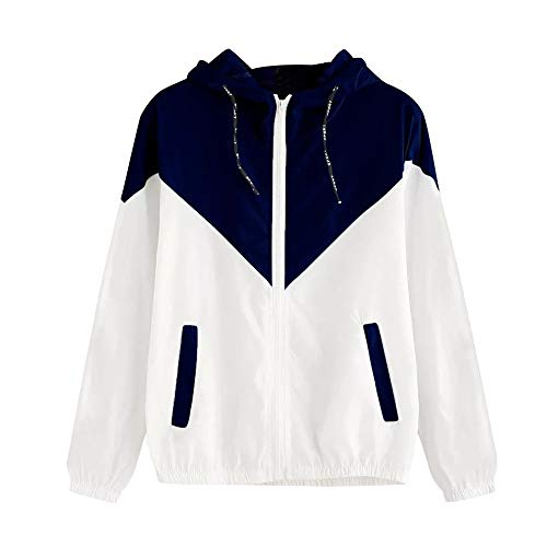 Women's Hooded Jackets,LuluZanm Sales! Ladies Long Sleeve Patchwork Thin Outerwear Zipper Pockets Sport Coat Navy