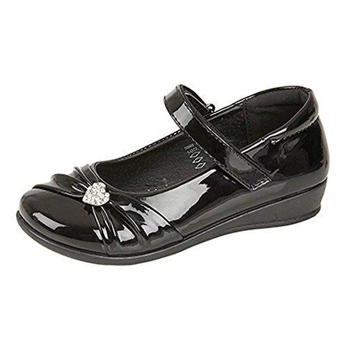 Elegante, festliche Mädchen-Schuhe, Schwarz mit Klettverschluss, für die Schule oder elegante Feiern, Größen 35 - 41, schwarz - schwarzer lack - Größe: 31 EU Kinder