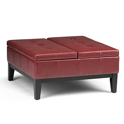 (Simpli Home AXCOT-235-RRD Dover Square Coffee Table Storage Ottoman in Radicchio Red Faux Leather)