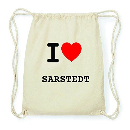JOllify SARSTEDT Hipster Turnbeutel Tasche Rucksack aus Baumwolle - Farbe: natur Design: I love- Ich liebe