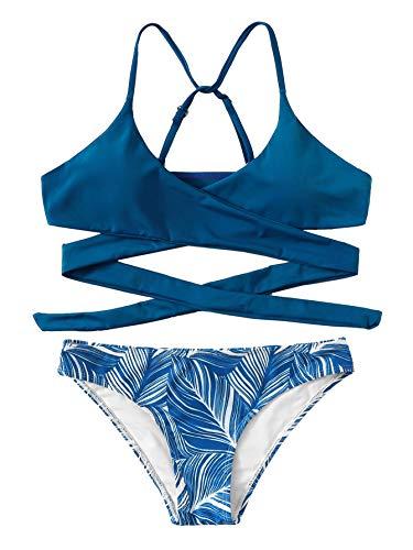 DIDK Women's Wrap Top with Random Tropical Low Rise Bikini Set Blue XL