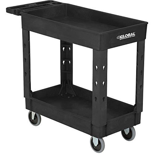 Industrial Service & Utility Cart, Plastic 2 Shelf Tray Black, 38