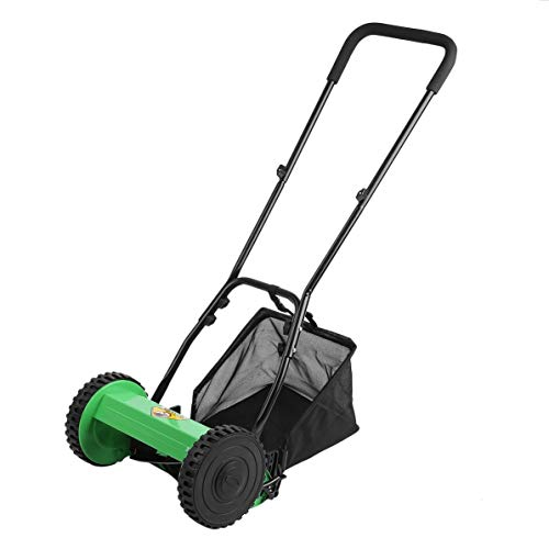 (Compact Light-Weight Hand Push Lawn Mower Courtyard Home Reel Mower No Power Lawnmower Machine with 5 Metal Blades)