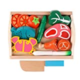 Huangyingui Wooden Cutting Toy Set Children's Educational Toys - Children's Kids Cutting Birthday Party Kitchen Food Simulation Toys, Role Playing Toys ( Color : 4 )