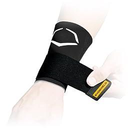EvoShield Compression Wrist Sleeve with Performance Elastic Strap (Black, Large)