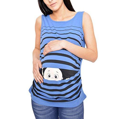 SAYEI Women's Print Cartoon Baby Maternity Round Neck Sleeveless Top Vest Casual Shirt Blue -