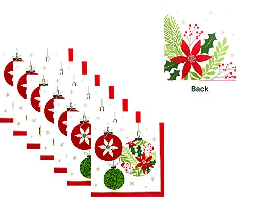 Modern Christmas Holiday Disposable 3-Ply Reversible Lunch Paper Napkins - 50 Napkins Total - Ornament and Poinsettia (Paper Christmas Direct)