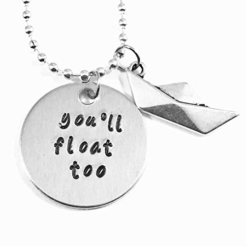 (Pennywise It You'll Float Too Hand Stamped Necklace with Paper Boat)