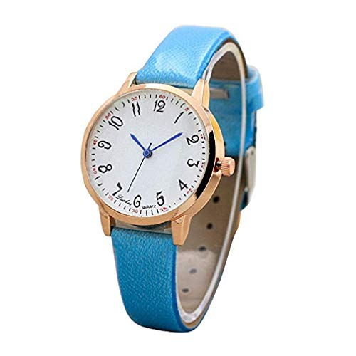 Women Wrist Watch, Windoson Big Fashion Leather Band Digital Dial Analog Quartz Watches Bracelet Prime (Blue) ()