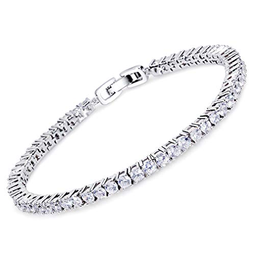MEETYOO Tennis Bracelet Crystal Jewelry Lady Valentines Gift Zirconia Platinum Plated Bangle