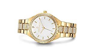 Timothy Stone Womens Watches Swarovski Crystal Dial and Bezel Gold-Tone & White Gala Quartz Wrist Watch