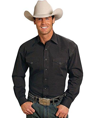 Stetson Men's Solid Snap Oxford Shirt Black ()