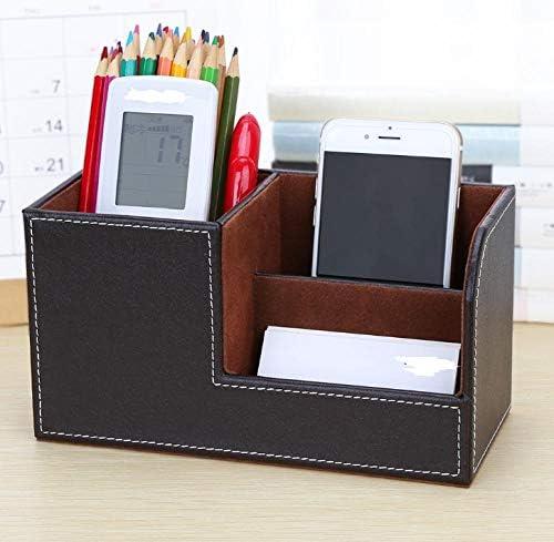 Retro Desktop Briefpapier Aufbewahrungsbox Home Schmuck PU Aufbewahrungsrohr Leder Stifthalter-Kaffee Farbe tabby_20.3 * 9.3 * 11CM