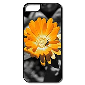 IPhone 5/5S Hard Plastic Cases, Orange Flower White/black Covers For IPhone 5S by icecream design
