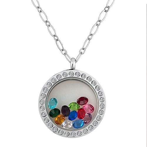 Birthstone Crystal Floating Necklace Magnetic