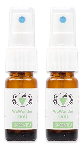 WcWunder Toilettenduft, Toilettenparfüm, Geruchsblocker 2x 10ml ´to go´-Version Green Tea