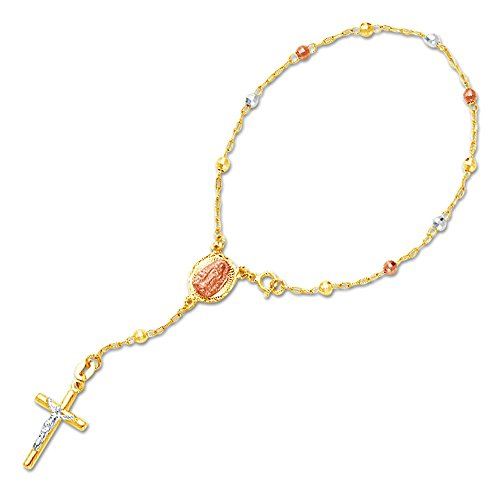 (Jewel Tie Solid 14K Three 3 Color Gold 3mm Beads Our Lady Guadalupe Virgin Mary Rosary/Rosario Bracelet - 7.25