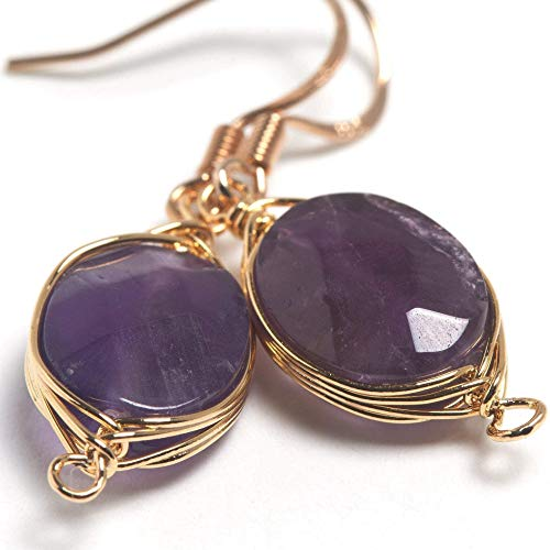 (Natural Stone Wire Wrap Dangle Drop Earrings Gold Plated 925 Sterling Silver Hook/Amethyst Oval Cut)