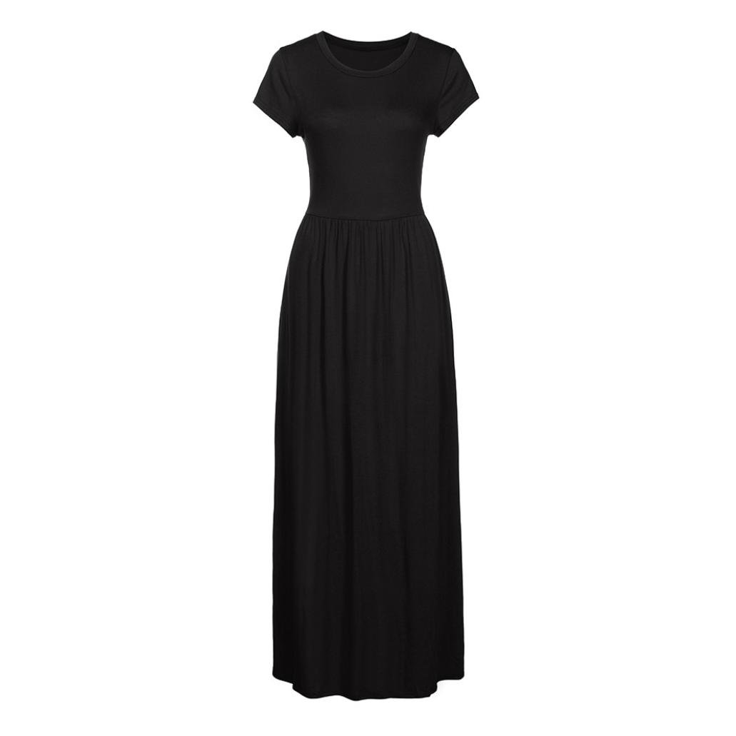 WINWINTOM Women Dresses, Womens Summer Short Sleeve Floor Length Dress Fasion O -Neck Loose Casual Pleated Maxi Dress Party Beach Dress Sundresss: ...
