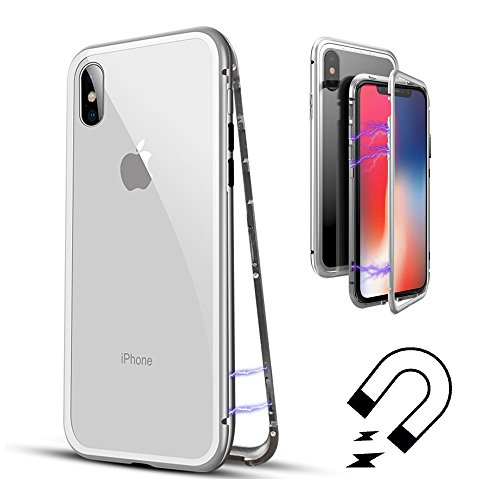 QLTYPRI Case for iPhone X, Luxury Metal Frame Magnetic Adsorption Case Transparent 9H Tempered Glass Back Aluminum Bumper Ultra Slim Armor Shell Shockproof Flip Cover for iPhone X - Clear White
