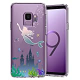 Unov Galaxy S9 Case Clear with Design Soft TPU Shock Absorption Slim Embossed Pattern Protective Back Cover for Galaxy S9 (Mermaid Castle)