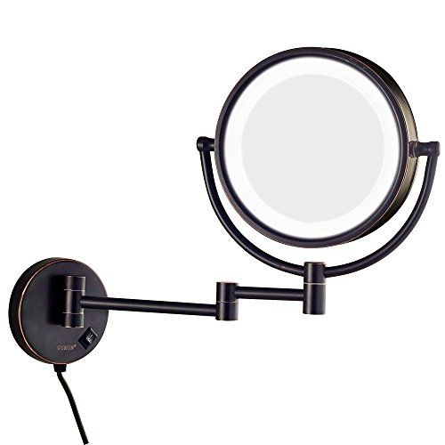 GURUN LED Lighted Wall Mount Makeup Mirror with 7X Magnification,Oil-Rubbed Bronze Finish, 8.5 Inch, Brass,M1809DO(8.5in,7X)