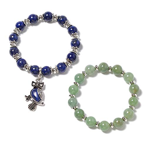 Shop LC Delivering Joy Lapis Lazuli Aventurine Set of 2 Beaded Beads Owl Charm Bracelets for Women Jewelry Stretchable (Owl Beaded Bracelets)