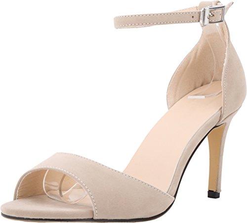 Salabobo Womens Sexy Wedding Bride Bridesmaid OL Night Party Work Stiletto Peep Toe Cloth Sandals Nude H1d0XT