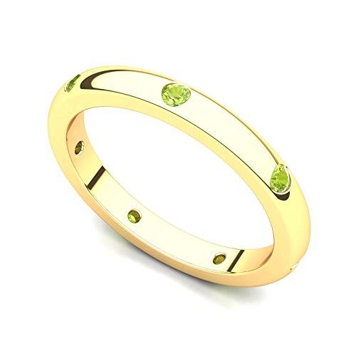 14k Yellow Gold Bezel set Peridot Semi Eternity Band Ring, 12 ()